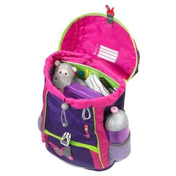 Geöffneter KID Rucksack, DIN A4-fähiges Hauptfach mit viel Platz ist zu sehen