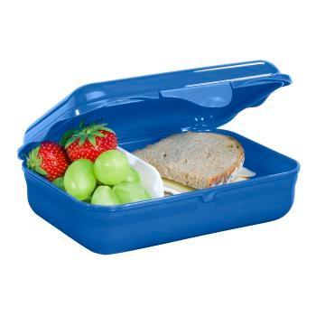 Geöffnete Step by Step Lunchbox, Pausenbrot und Obst sind durch Trennwand getrennt